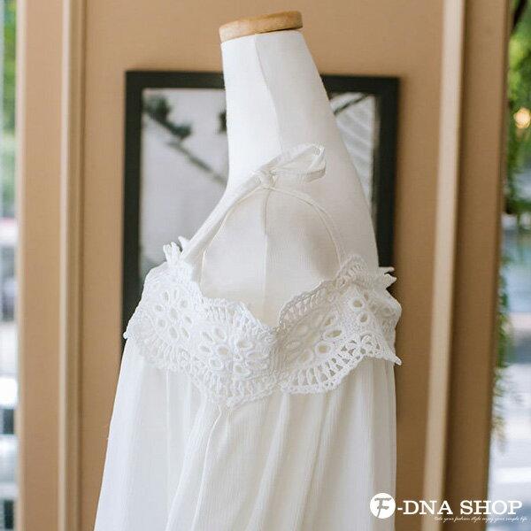 F-DNA★甜美肩綁帶蕾絲雪紡上衣(白-S-XL)【ETD2279】 4