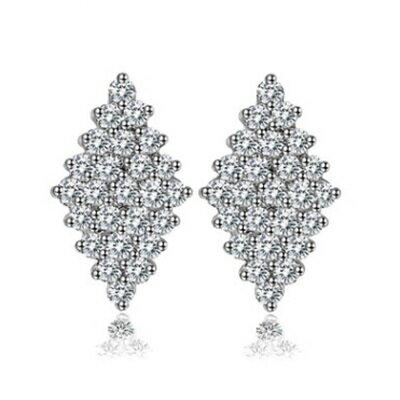 純銀耳環鍍白金鑲鑽耳飾~耀眼迷人 菱形生日情人節 女飾品73cr115~ ~~米蘭 ~
