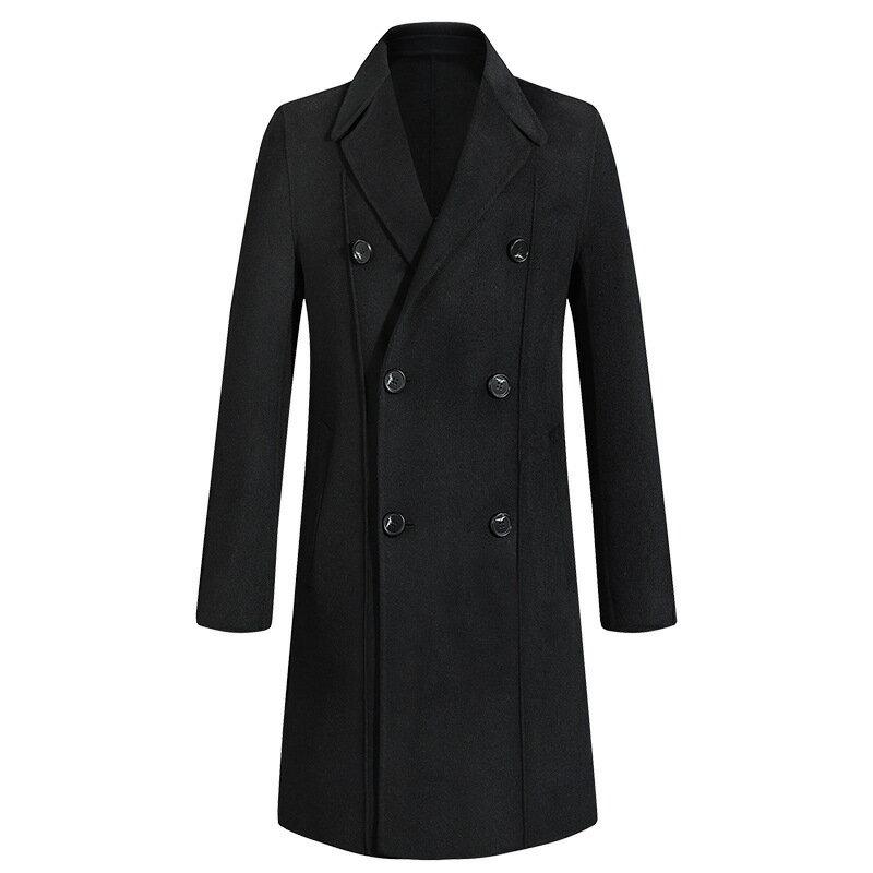 毛呢大衣中長版風衣-經典黑色雙排扣修身男外套73wk37【獨家進口】【米蘭精品】 0