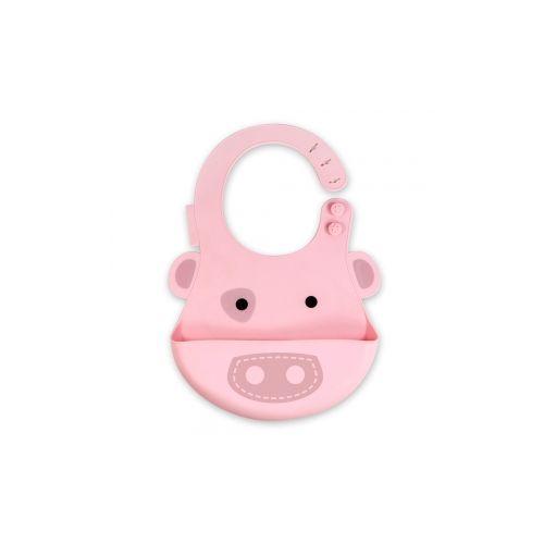 加拿大 MARCUS  MARCUS 動物樂園矽膠立體圍兜-粉紅豬★愛兒麗婦幼用品★