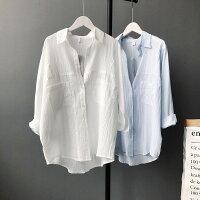 純色棉麻長袖襯衫防曬衣 / 樂天時尚館。預購-樂天時尚館-女裝特惠商品