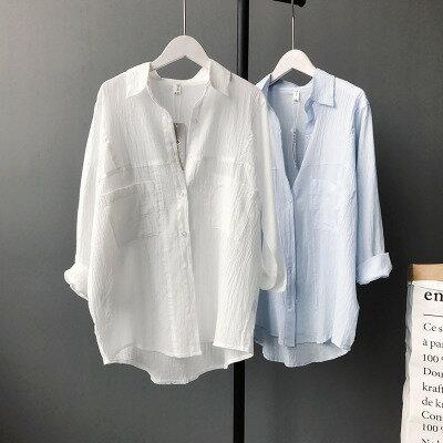 純色棉麻長袖襯衫防曬衣樂天時尚館。預購。[全店免運]