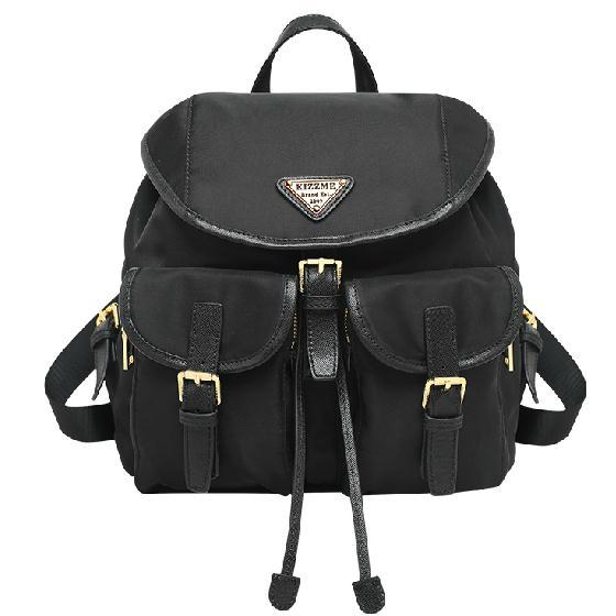 (喜番屋)KIZZME韓版歐美尼龍配真皮頭層牛皮防潑水大容量情侶款女包手提包後背包雙肩書包肩背側背包包禮物KI44