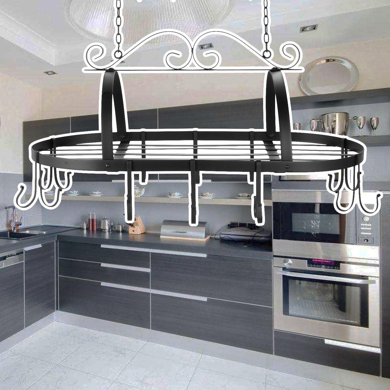 Iron Hanging Pot Holder Kitchen Storage Utility Cookware Hook Rack 3