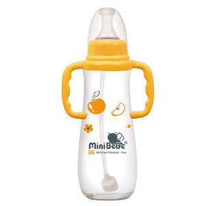 ~蜜妮寶貝嬰童用品館~和風自動把手奶瓶  容量: 240ml  8oz 顏色: 橘  綠