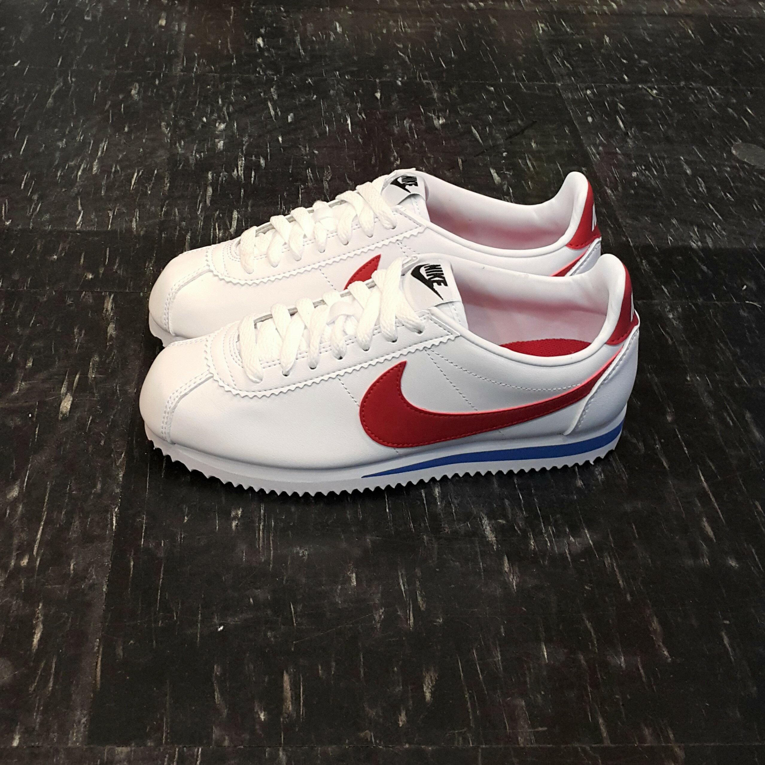 NIKE WMNS CLASSIC CORTEZ LEATHER 阿甘鞋 白色 红色 白红 红勾 白红蓝 白底红勾 皮革 经典 807471-103