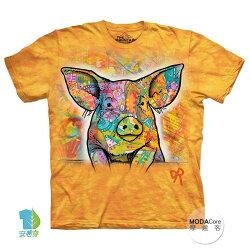 【摩達客】(預購) 美國進口The Mountain 彩繪小豬 純棉環保短袖T恤