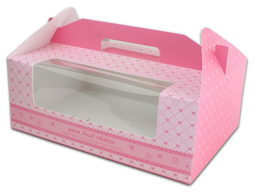 外帶盒、包裝盒、手提盒  6格提盒 MS-6-B(粉色愛心)5 pcs附底托
