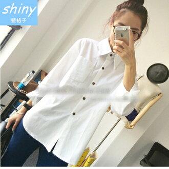 【V0404】shiny藍格子-清新自然.百搭甜美娃娃領長袖襯衫