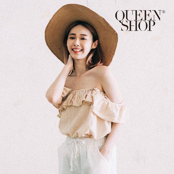 QueenShop【01095902】荷葉蕾絲造型棉麻上衣兩色售*預購*