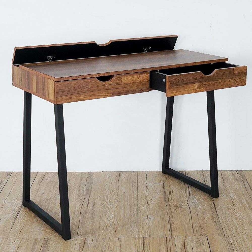 佐克工業風二抽附插座書桌(兩色可選)❘書桌/辦公桌/電腦桌【YoStyle】