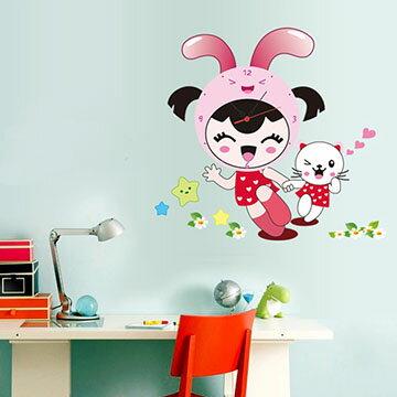 WallFree窩自在 韓版-新款DIY創意壁貼時鐘 SA-1-017快樂兔女孩(附靜音機芯)
