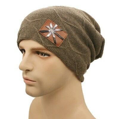 針織毛帽男帽子 ~ 金屬米字旗標男 7色73if5~ ~~米蘭 ~