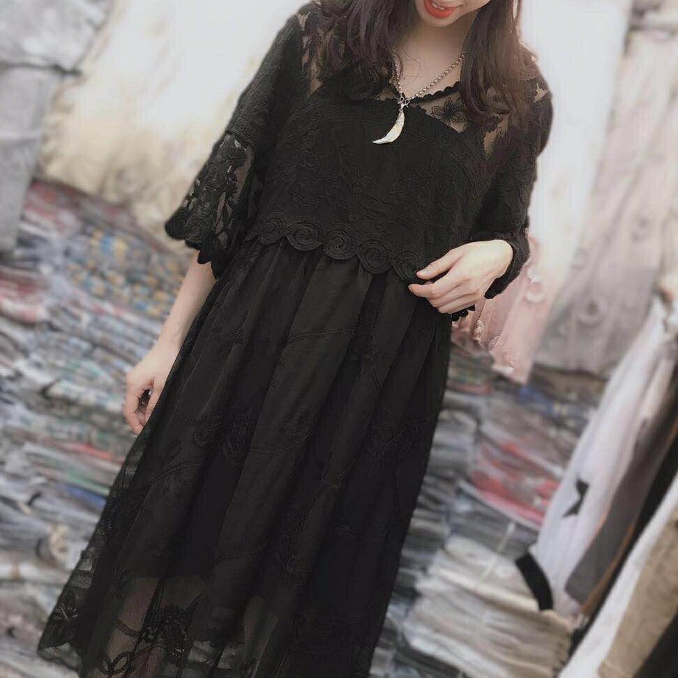【原創】亞麻棉麻寬鬆韓版七分袖繡花洋裝