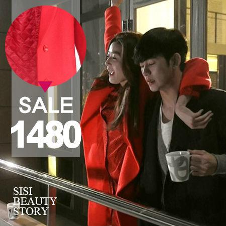 SiSi Girl:SISI【C4008】韓劇來自星星的你全智賢千頌伊同款紅色毛呢大衣毛料保暖外套都敏俊金秀賢