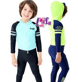 草魚妹:★草魚妹★F98泳褲連帽拉鍊泳衣神電長袖泳衣二件式泳衣兒童泳衣正品,整套售價699元