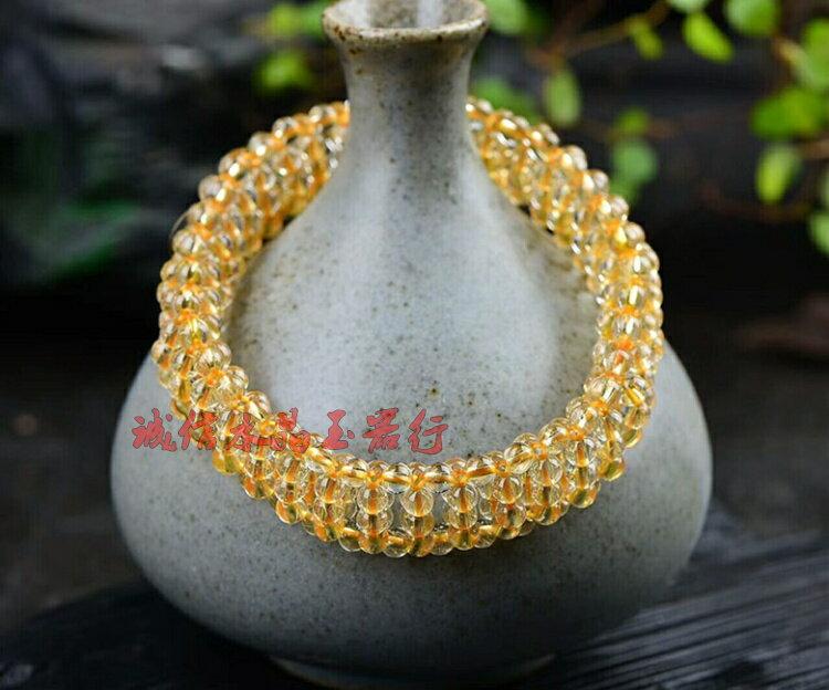 天然4mm黃發晶單圈手排手鏈純手工編織珠粒色澤鮮艷