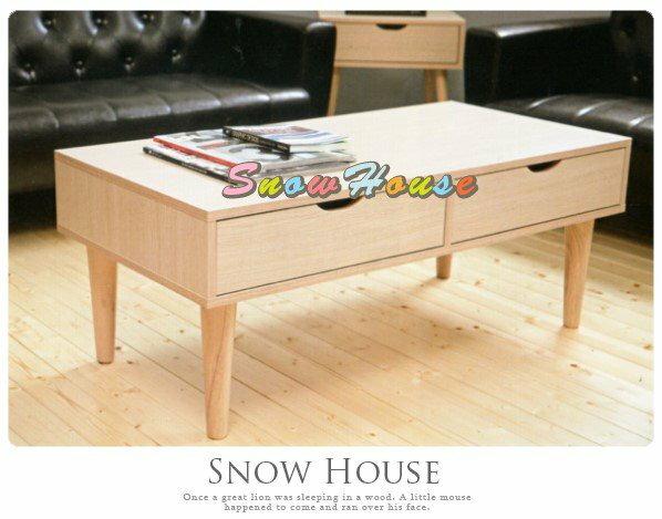 ╭☆雪之屋居家生活館☆╯AA441-01 雙抽屜茶几(白橡)/收納櫃/置物櫃/置物桌/造型几/長方几/100公分寬