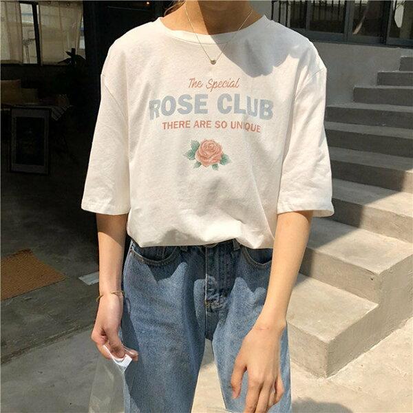 T恤做舊印花字母學院風短袖T恤上衣【MYXG752】BOBI0621