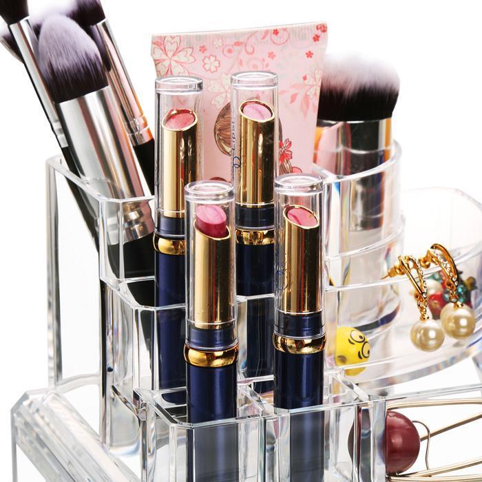 Acrylic Desktop Cosmetic 3 Drawers Grids Multi Tiers Display Storage 5