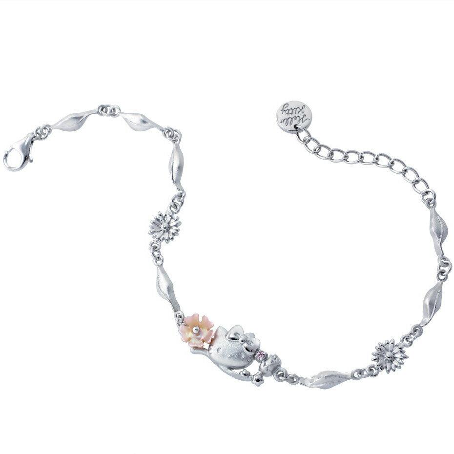 Hello Kitty浪漫花系列 純銀手鍊 HCV-620 晶漾金飾鑽石JingYang Jewelry