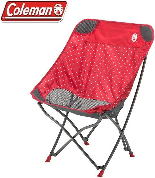 Coleman 圓點療癒椅/折椅/露營折疊椅/休閒椅 CM-31284M000 圓點紅/台北山水