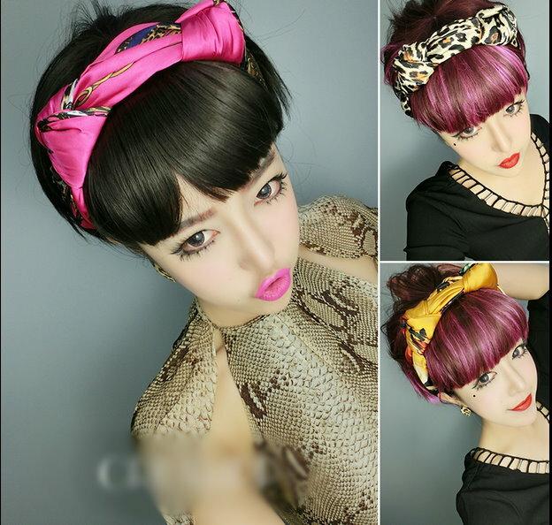 新品歐美絲綢緞面雙結貓耳小惡魔髮箍髮飾