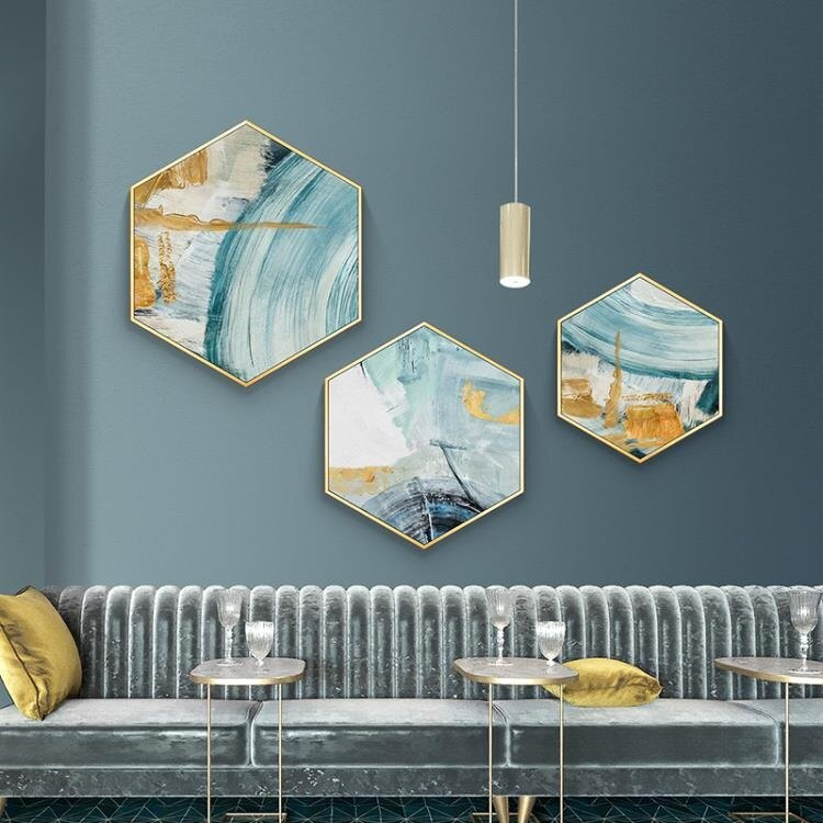 618限時搶購 壁畫 北歐客廳裝飾畫 酒店餐廳輕奢壁畫玄關掛畫六邊形 現代簡約抽象畫 8號時光