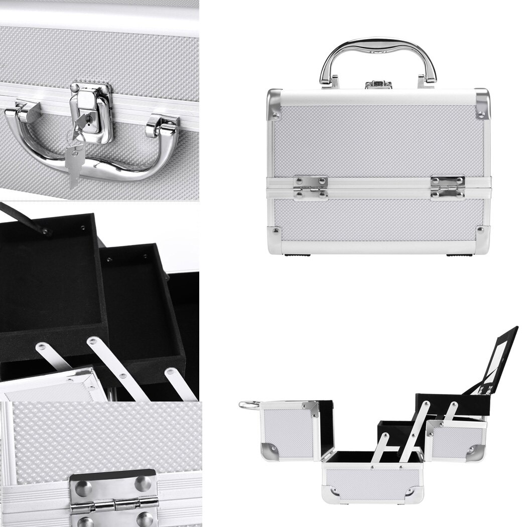 Makeup Travel Case Jewelry Box Lockable Cosmetic Organizer 2