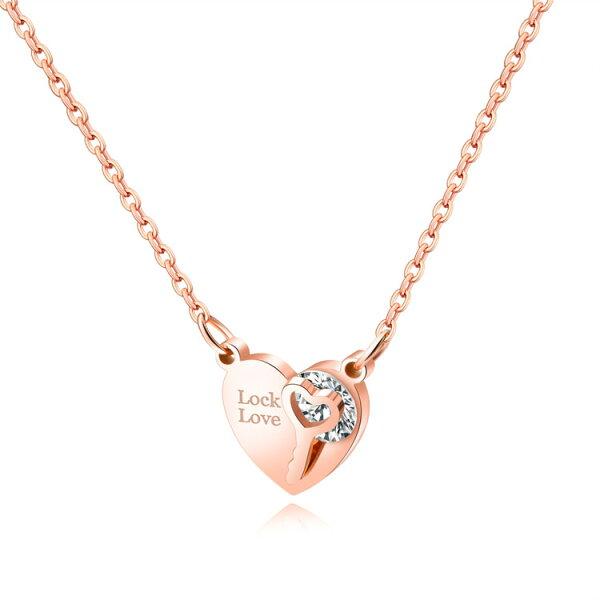 【5折超值價】時尚精美鎖住心鎖愛心鑲鑽女款鈦鋼項鍊