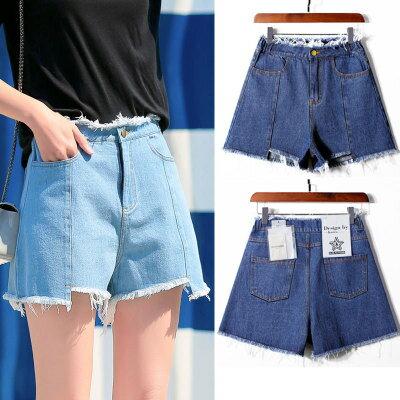 韓系女裝高腰牛仔闊腿短褲樂天時尚館。預購