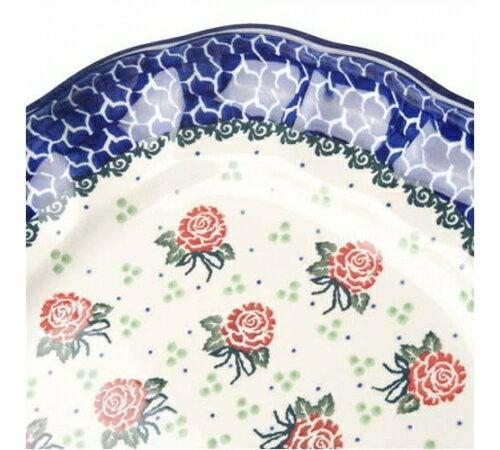 【預購】Polish Pottery波蘭陶- 可愛24CM可愛花邊方形大盤-清新玫瑰花 2