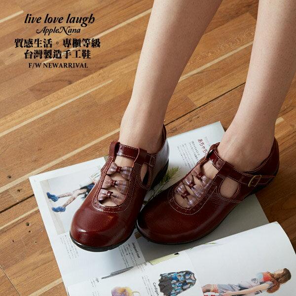 AppleNana。甜甜女孩紳士風混搭3小蝴蝶結真皮氣墊鞋【QT75021380】蘋果奈奈 0