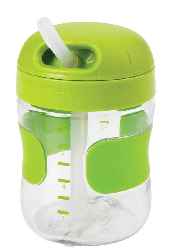 美國 OXO 兒童喝水訓練杯 吸管喝水杯 200ml / 7oz 綠色 *夏日微風*