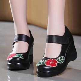 黑色352016真皮女民族魔術貼手工原創刺繡厚底松糕復古休閑淺口坡跟單鞋