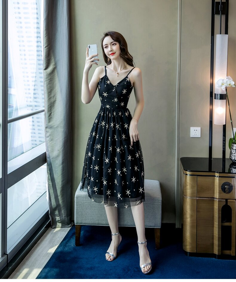 《全店75折》沁甜星狀顯瘦細肩帶長洋裝(S-XL)- 梅西蒂絲(現貨+預購)