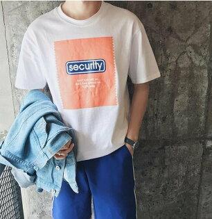 FINDSENSEMD韓國潮男時尚休閒寬鬆五分袖創意趣味字母印花短袖T恤特色短T字母T