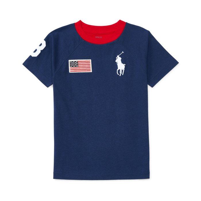 美國百分百【Ralph Lauren】T恤 RL 短袖 T-shirt Polo 大馬 國旗 拼色雙色 深藍紅 青年 XXS XS S I136