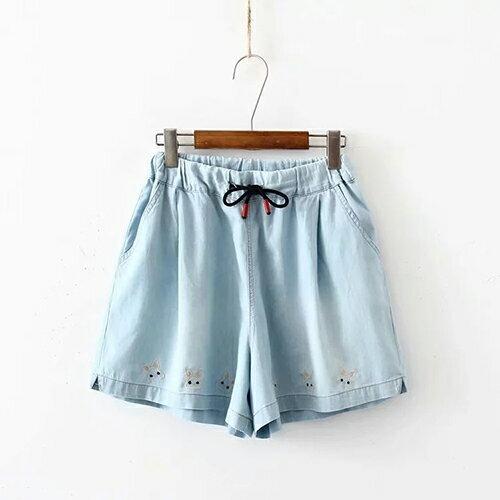 日系繫繩鬆緊腰下襬刺繡牛仔短褲(2色F碼)【OREAD】