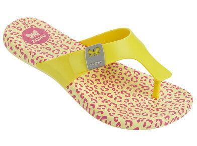 [陽光樂活]Zaxy(童)IntenseKids夾腳拖鞋-ZA8177090073鵝黃豹紋