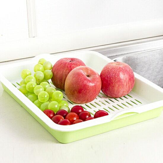 Mycolor:♚MYCOLOR♚長方形雙層瀝水盤托盤蔬菜水果手提碗筷瀝乾廚房客廳泡茶杯架【H21】