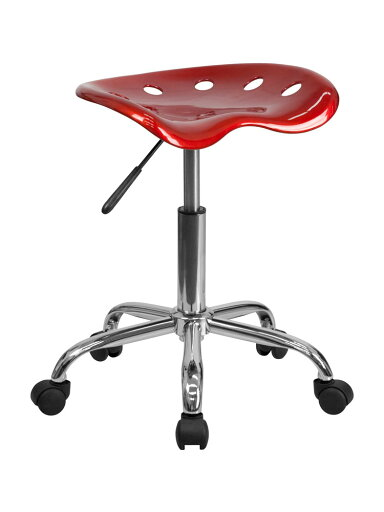Offex Vibrant Wine Red Tractor Seat and Chrome Stool [OF-LF-214A-WINERED-GG] ec684b4888360f38d9bb5521ddd91d04