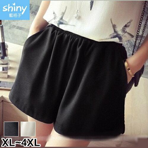【V2315】shiny藍格子-甜范美搭.寬鬆顯瘦鬆緊腰闊腿短褲
