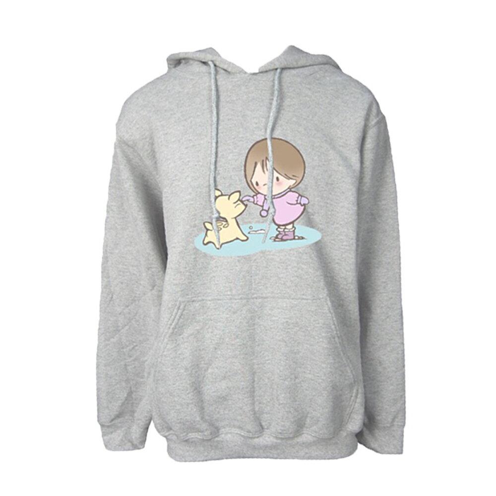 【蘋果小鹿】 布蕾女孩  文創  帽T (灰色)