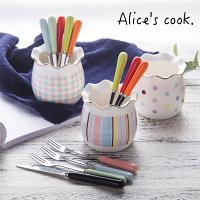 |現貨|韓式 時尚鑲邊幾何圖案陶瓷水果叉組 |居家必備|水果叉餐具|預購-Alice餐廚好物-居家特惠商品