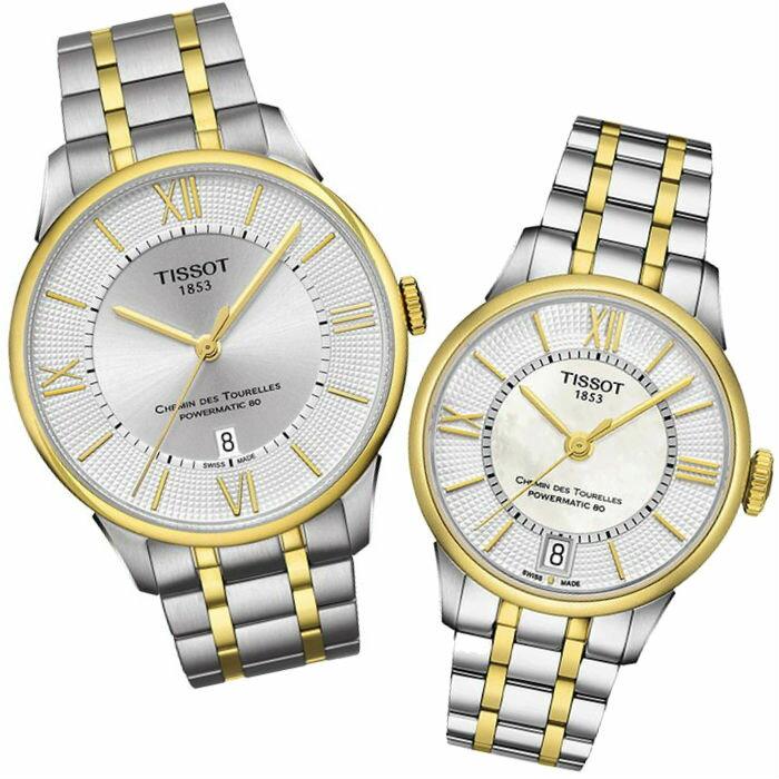 TISSOT天梭 T0994072203800+T0992072211800 雙色杜魯爾經羅馬典80小時機械腕錶/白面 42+32mm
