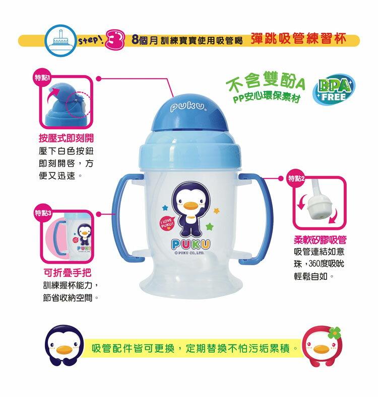 PUKU藍色企鵝 - 彈跳吸管練習杯(摺疊握把) 240cc (水藍/粉紅) 2