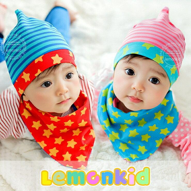 Lemonkid◆時尚小星星條紋舒適彈性兒童套頭帽+三角巾 2件套