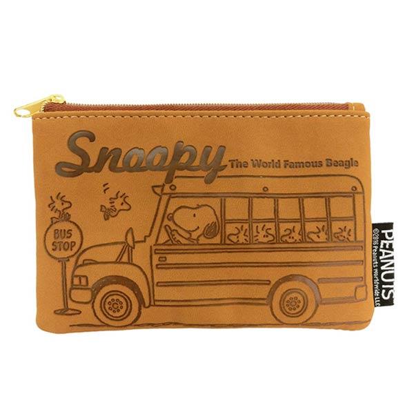棕色款~  ~史努比 SNOOPY 皮革壓花 方形 收納包 零錢包 卡片包 PEANUTS