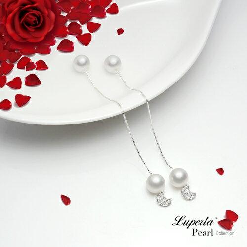 大東山珠寶 純潔月光 日本AKOYA天然海水珍珠純銀晶鑽耳環 雙珠耳線兩用款 2